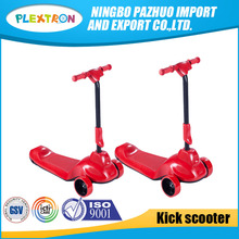 Factory price three PU wheel foldable kids child electric scooter with button