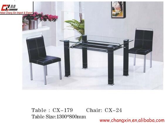 modern tempered glass dinning table DT-1009 dinning chair:(1)DC-1039 (2)DC-1036