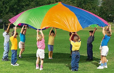 12feet Rainbow Parachute with handles for Back Yard Game,Playchute