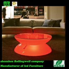 Color changing led furniture table with glass top