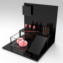 elegant and luxurious mac black color acrylic display case for makeup custom cosmetic display stand