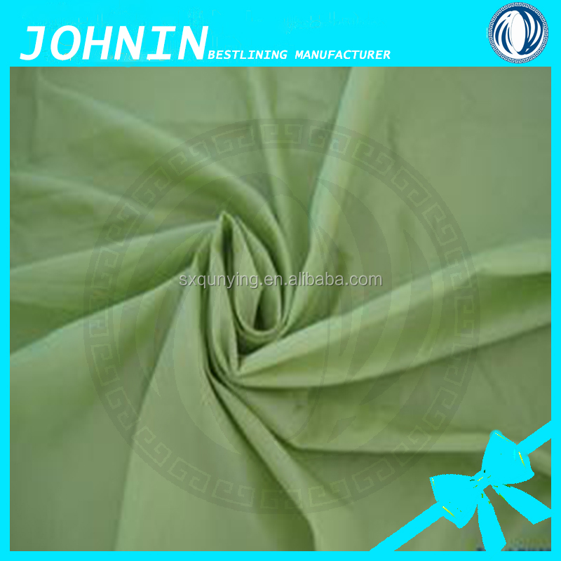 Polyester taffeta fabric, plain dyed 210t lining fabric for garment in shaoxing keqiao