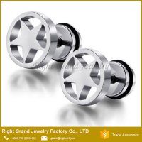 Customized Fashion Stainless Steel Star Body Piercing Fake Ear Plugs