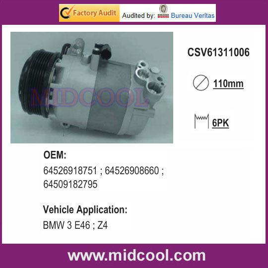 High Quality CSV613 auto air conditioner COMPRESSOR FOR 64526918751 ; 64526908660 ; 64509182795