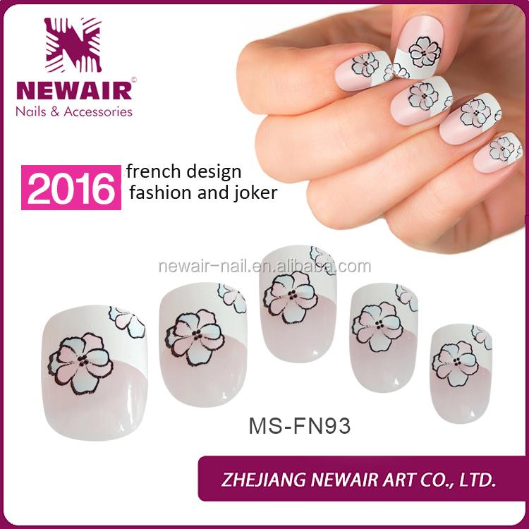 French Printing Flower Nail Tips, French Printing Flower Nail Tips ...