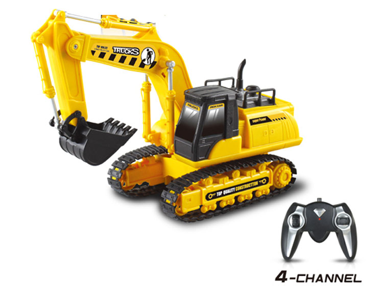 Good quality 4 channel rc construction toy trucks wheel excavator for kids RC13387M-307