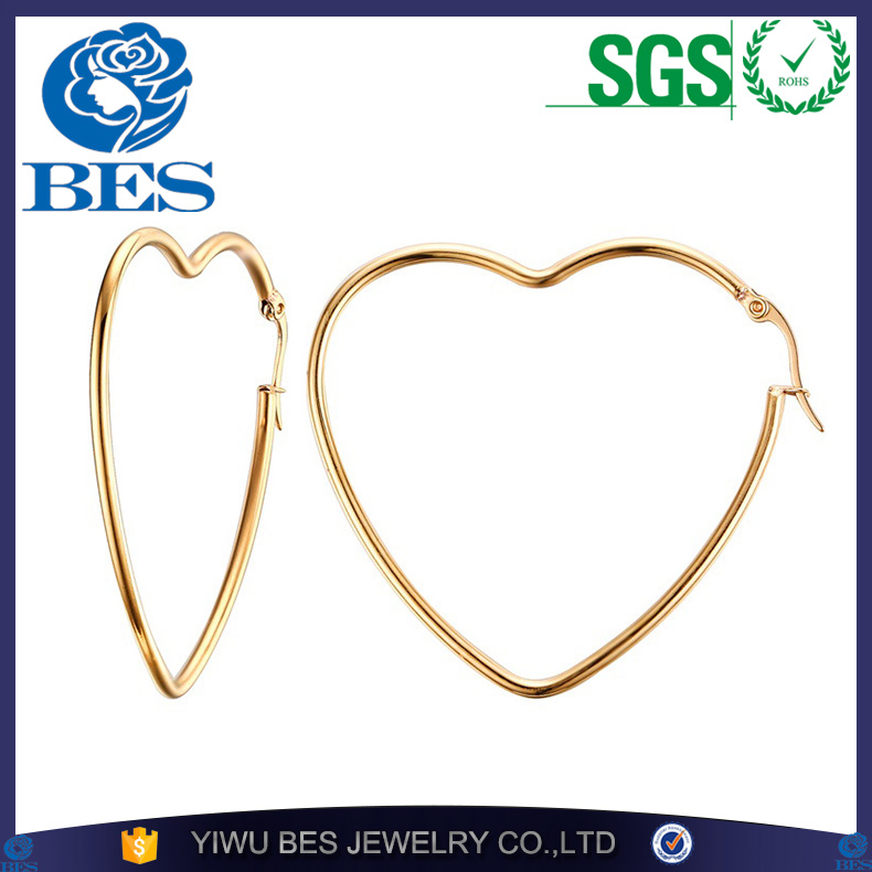 Woman's Elegant Simple Big Heart Shaped Earring 18k Gold Plated Hollow Circle Hoop Earrings Ear Stud Lady's Jewelry