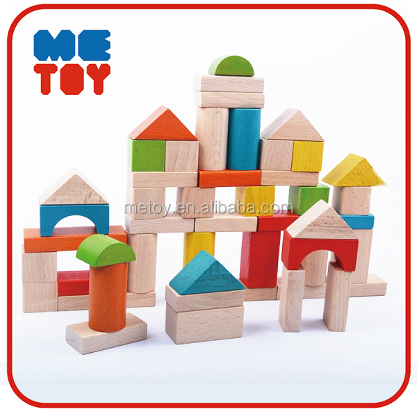 2017 Hot safety 50pcs kids buliding blocks wooden toy