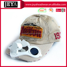 Supplier by China 100%cotton washed solar fan baseball cap wtih applique