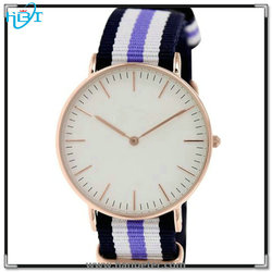 Unisex luxury watch bands stainless steel case back Nylon Watchband watch