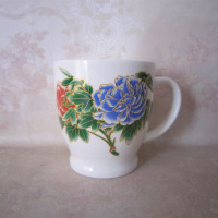 New bone china couple mug with flowers printing