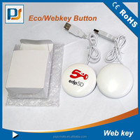 Plastic round shape USB smart button with webkey, USB Light Up web key smart Button