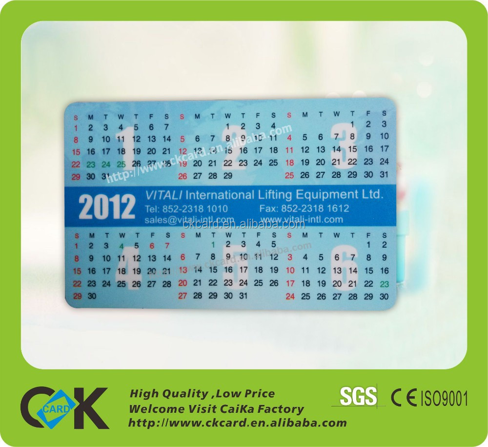 Credit card size table clock with calendar offset printing from china supplier