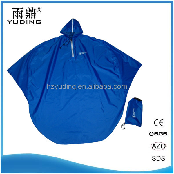Bule 100% Waterproof reflective Polyester rain Poncho With Logo
