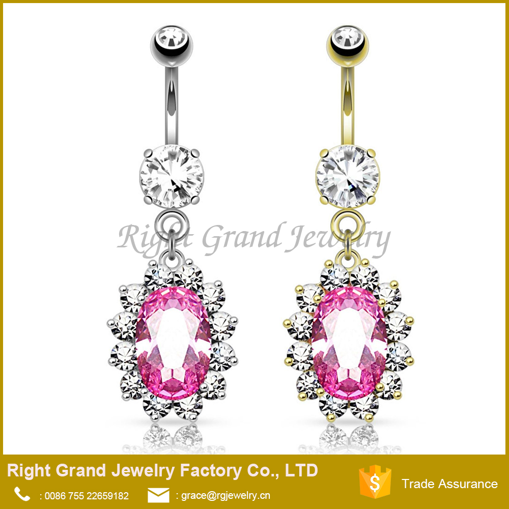 Surgical Steel Pink Oval Cubic Zirconia Gem Trim Dangle Navel Belly Ring