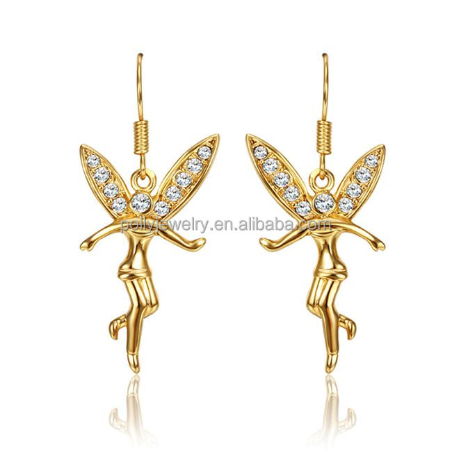 2017 Fashion Trendy 18K Gold Plated Crystal Girl's Angel Earrings Christmas Gift