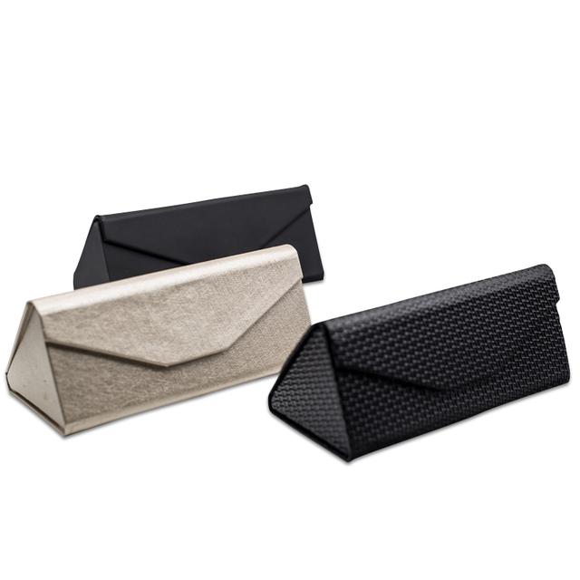 PU leather classical triangle folding sunglasses box custom logo
