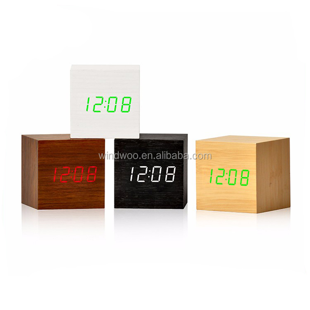 New Arrival Hot Sales Modern Square Colorful Wooden Bamboo Digital Single Face Thermometer Led Alarm Clock