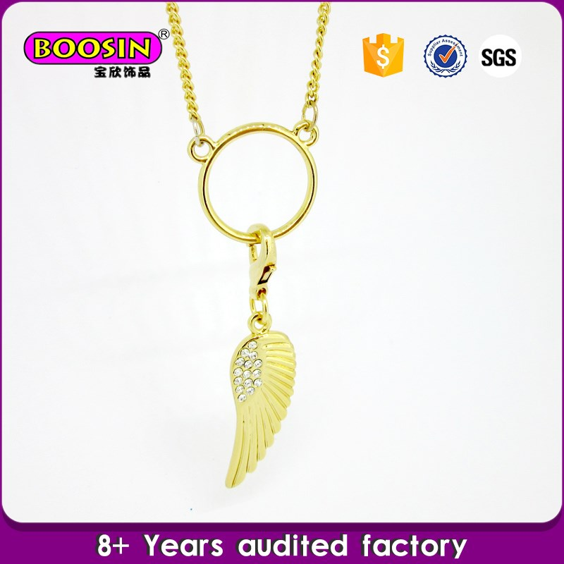 Yellow gold necklace,angel wings jewelry with rhinestones