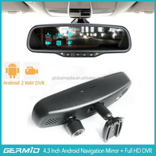 5 Inch car mirror 1080p car dvr video recorder with GPS,Bluetooth,FM transmitter