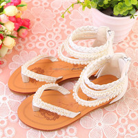 pearl white fashion girls beautiful flat sandals by China factory wholesale,best partner for party