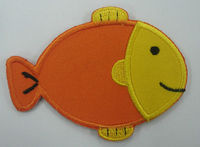 Heat cut fun fish design embroidered patches / twill applique cartoon fish emblem / iron on embroidery patch