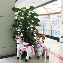 CE standard Soft plush white unicorn animal mechanical kidder toy scooter for shopping mall