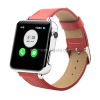 Cheap bluetooth leather strap smart watch for iPhone, TFT lcd smart watch, touch screen watch mobile phone