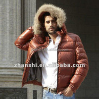High Fashion European Clothing Mens Goose Feather Jacket With Real Fur Collar