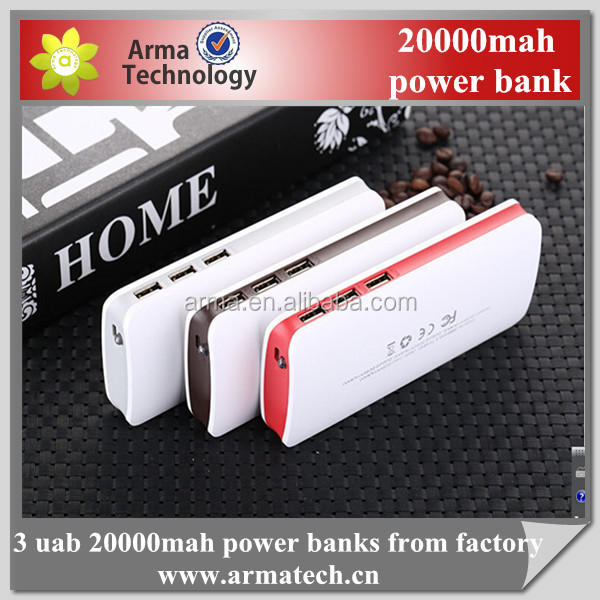 2016 super thin portable 20000mah power banks with 3usb output