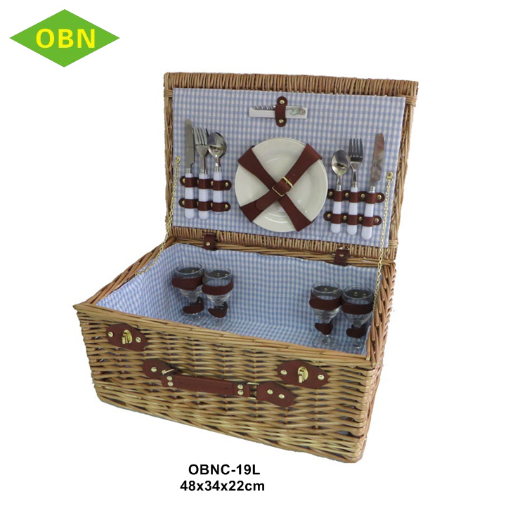 High quality custom portable empty picnic hamper cheap handmade willow wicker picnic basket set for 4 - 6 persons