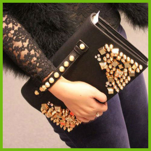 B3032 new Korean women bag wholesale rivet clutch shoulder Messenger bag black fashion women evening bag