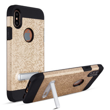 Wholesale mosaic car mount pc+tpu kickstand phone case for iphone 8 with magnetic function