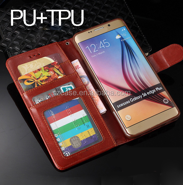 Customized Mobile Phone Case Flip PU Leather Case For Samsung Galaxy S6 Edge Plus Card Bag Case for S6