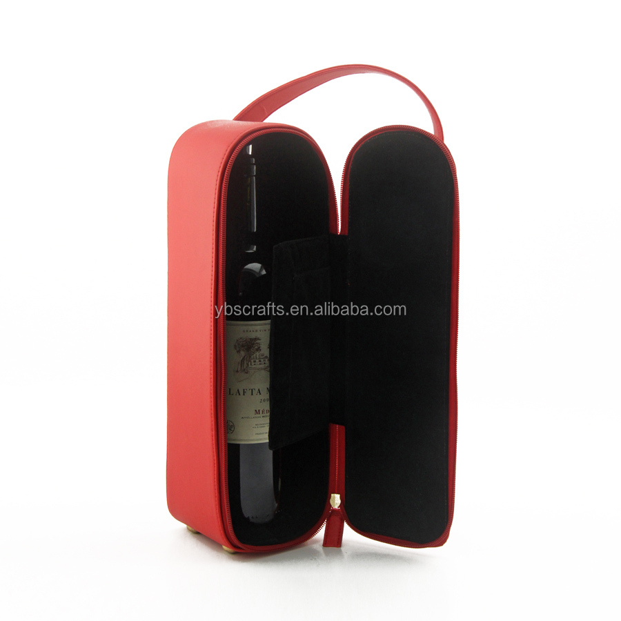 Red high quality PU leather wine holder for two bottles