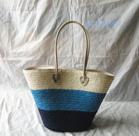 straw braiding hand bag with lining