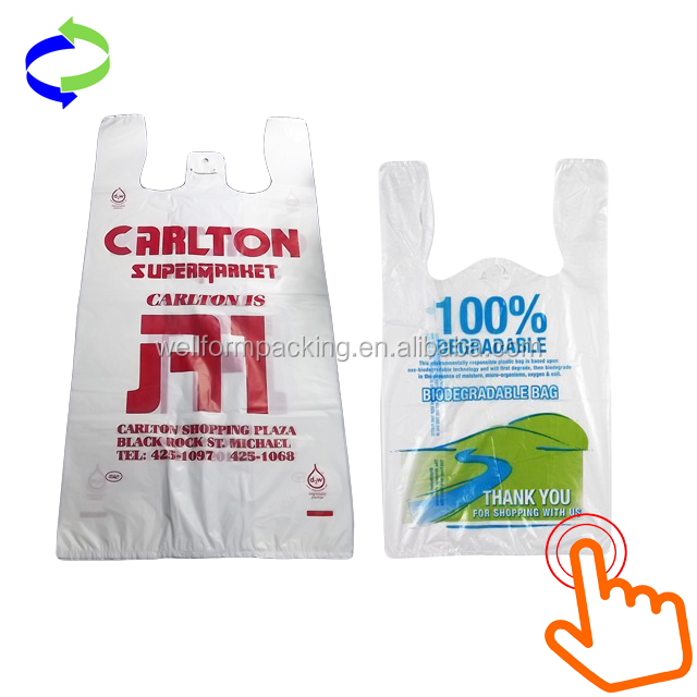 HDPE Recyclable and Biodegradable Plastic Vest Carrier T-shirt Bags with Low Factory Price
