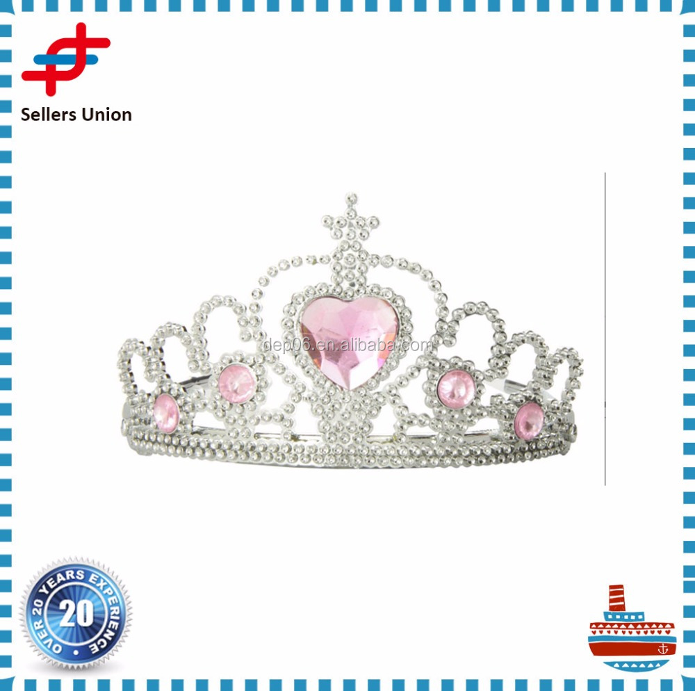 Hot sale carnival party crown crystal Tiaras with Heart Stones