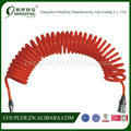 Red PU coil hose with Japan type quick disconnect fittings