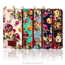 Beautiful Floral Cloth Skin Card Holder Leather Case for Samsung galaxy i9300
