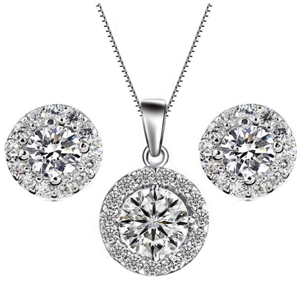 Tryme Shiny Sky Crystal jewelry <strong>set</strong> Shinny Round Zircon necklace earring <strong>set</strong>