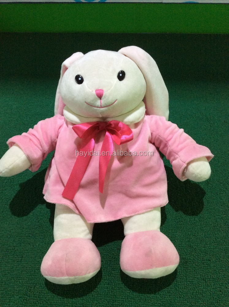 pink suit rabbit plush toy