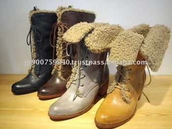 Genuine Italian Leather and Boa boots
