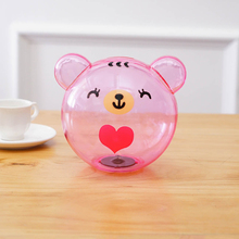 Round bear head mini coin clear plastic money box for kids