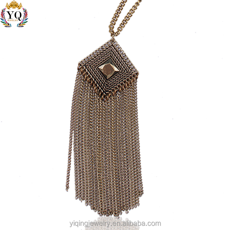 PYQ-00016 fashion antique bronze plated tassel pendant necklace for women