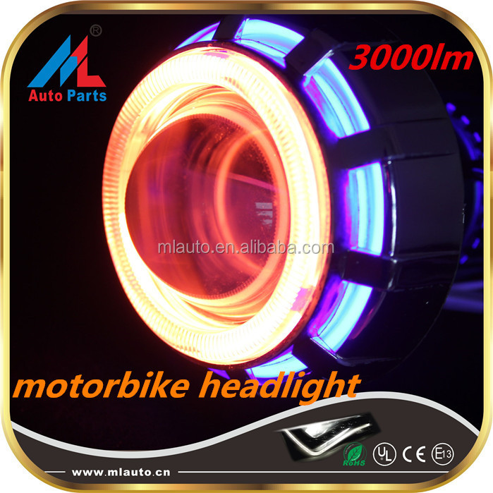 12V best motorcycle headlight 3000lm hi-lo beam vehicle round angel eyes headlight