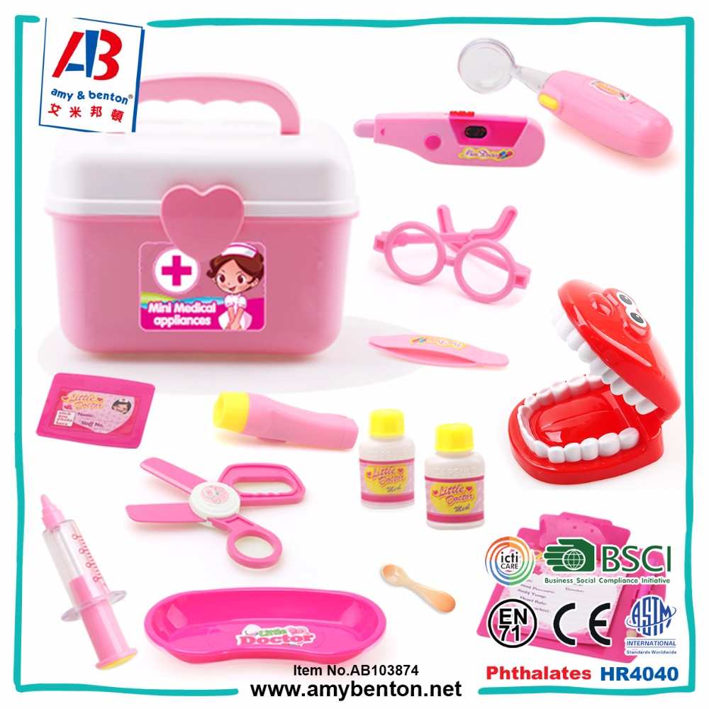 Child Role Play Game Doctor Dentist Tool Toy set with Handheld Box