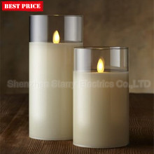wholesale glass decorative flameless scented wax birthday led candle making candle holder