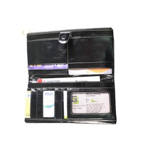 Free Sample Extra Capacity Long Slim Travel Crinkle Patent Pu Leather Rfid Wallet For Men