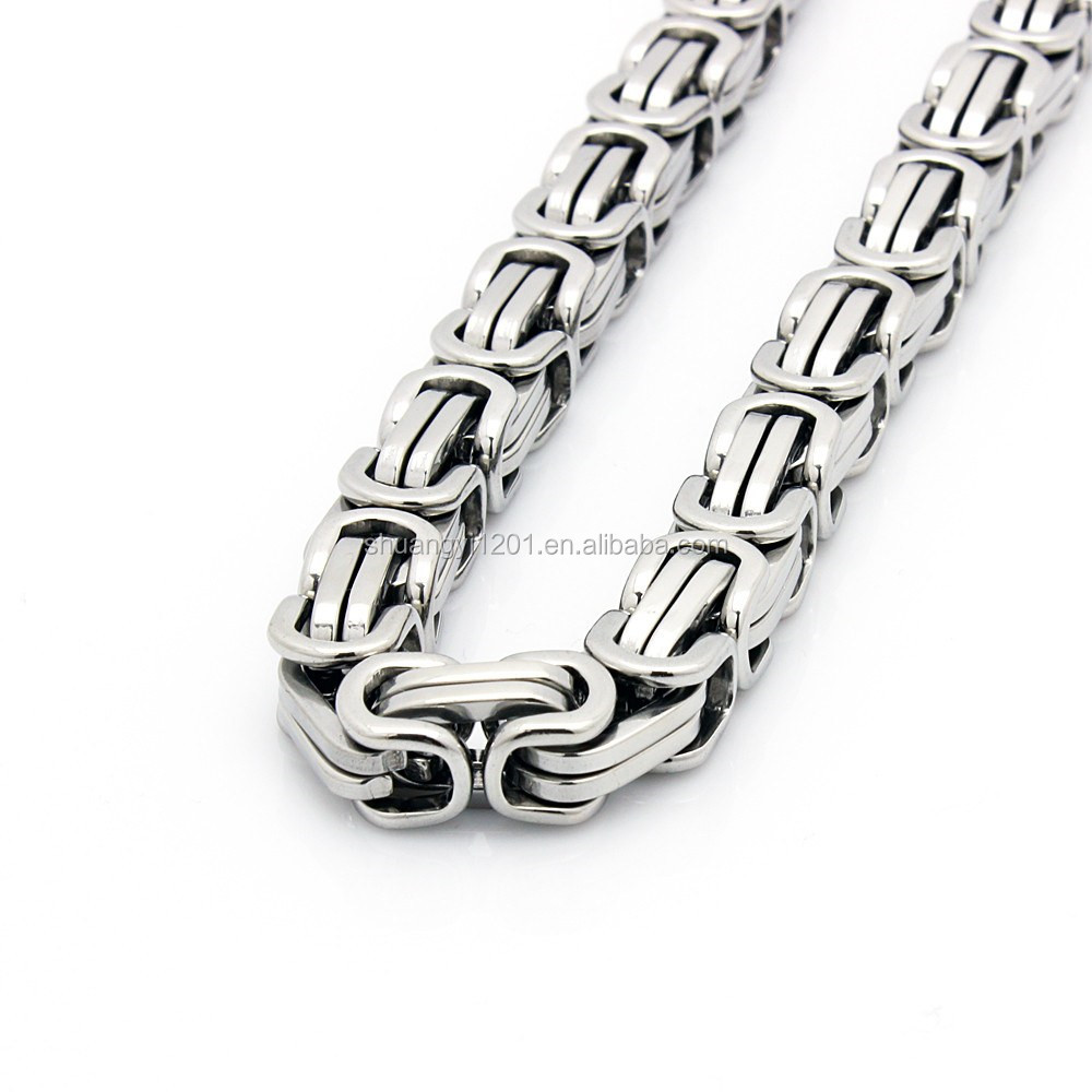 Wholesale Yiwu Factory Directly Gold Or Silver Stainless Steel Byzantine Chain Link Necklaces Men Jewelry